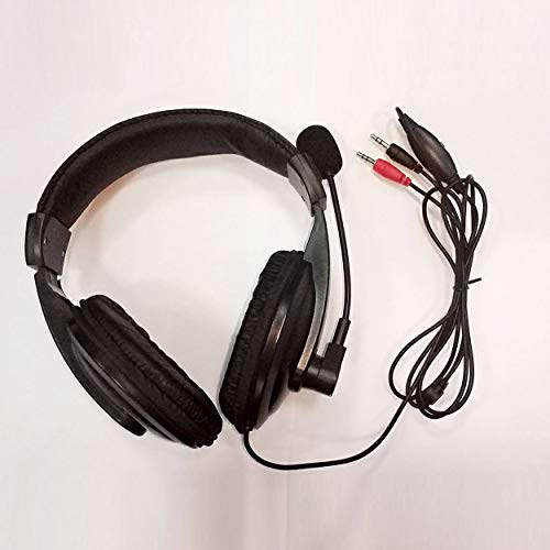 Great Features Of Black Adjustable Headset Music Gaming Microphone Headphone Plug and Play with 3.5m...