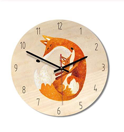 Wandklok Dekorative Hölzerne Wanduhr Modernes Design Kinder Silent Quartz Wanduhr Cartoon Print Pin Home Decoration Clock