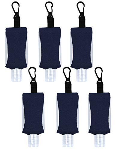 Empty Bottle for Hand Sanitizer Gel Products Liquid Soap 6 Pack 1 OZ Travel Sized Holder Keychain Carriers Flip Cap Reusable Portable (Navy Blue)