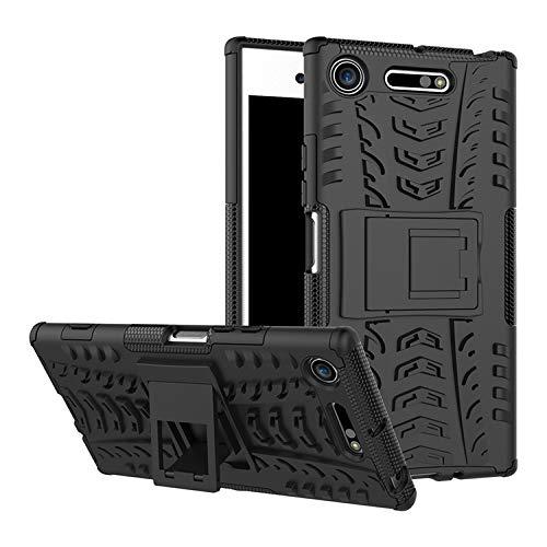 betterfon | Outdoor Handy Tasche Hybrid Case Schutz Hülle Panzer TPU Silikon Hard Cover Bumper für Sony Xperia XZ1 Schwarz