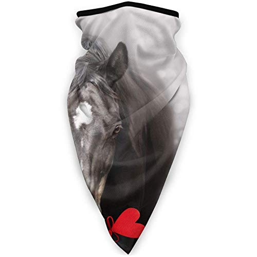 WH-CLA Calentador De Cuello Caballo De San Valentín con Corazón Viento Polvo Prueba Bufanda Facial Elástico Bandana Multifuncional Pasamontañas para Hombre Mujer,Senderismo,Ciclismo