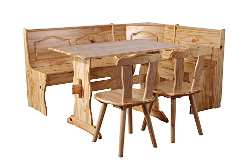 SixBros. Eckbankgruppe Rusica, komplette Essecke, Esstisch mit Tisch und 2 Stühlen, Sitzgruppe aus Holz Kiefer Natur DC167-N/2008