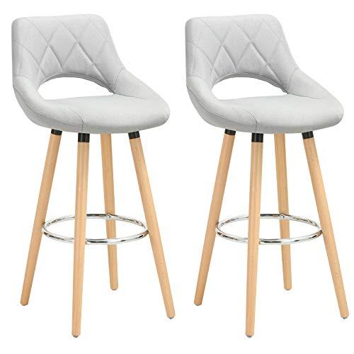 WOLTU® Barhocker BH111hgr-2 2er Set Barstuhl Bistrohocker Tresenhocker mit Lehne und Fußstütze Design Stuhl Holz Leinen Hellgrau