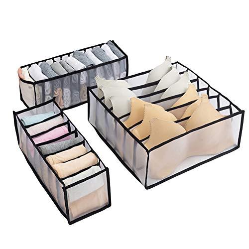 Saicowordist Organizador de cajones de ropa interior, ropa interior, sujetador, calcetines, cajas de almacenamiento de ropa interior, organizador de armario, caja de almacenamiento (negro)