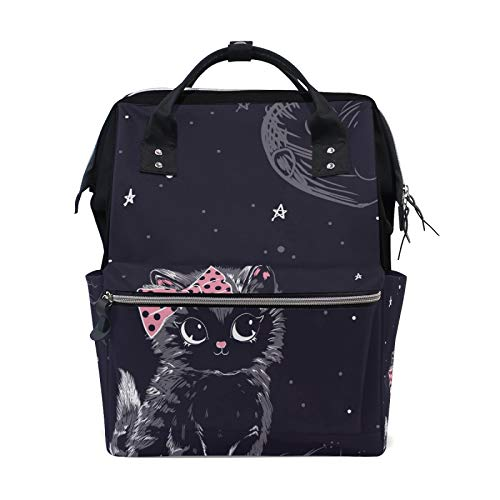 MERRYSUGAR Diaper Bag Backpack Black Cat Moon Star Baby Bag School Backpack Mommy Bag Large Multifunction Travel Bag