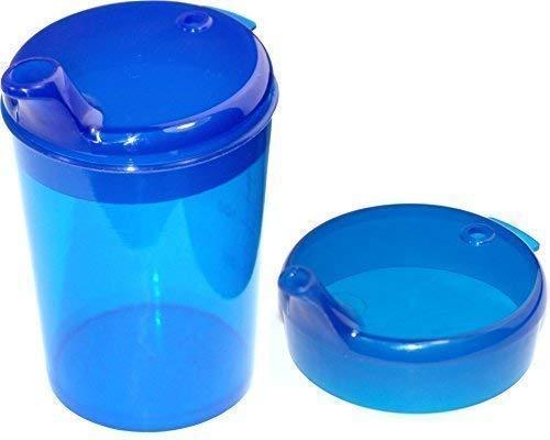 Schnabelbecher 250 ml Set 1 Unterteil + 2 Deckel (Öffnung 1 Stück 12 x 10mm u. 1 Stück 4 x 4mm) in versch. Farben von Medi-Inn (blau)