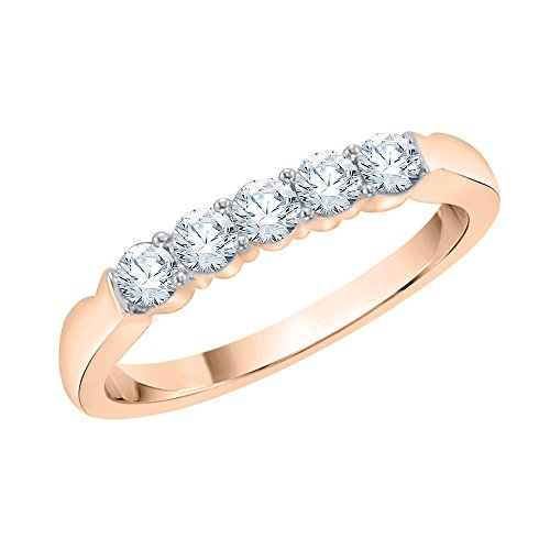 KATARINA Anillo de aniversario de diamantes en oro rosa de 14 k (1/4 quilates, J-K, SI2-I1) (tamaño 6,75)