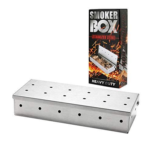 Merecho Räucherbox aus Edelstahl für BBQ, Smokerbox Geräucherte Box, Edelstahl Räucherbox Robustes Grillzubehör für Gasgrill und Holzkohlegrills