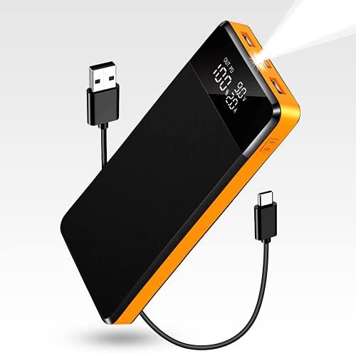 Power Bank 26800mAh, Powerbank mit Großer Kapazität mit Display und LED-Lampenperlen, USB C PD18W und Tragbares Schnellladegerät,3 Eingängen und 3 Ausgängen, Batterie Externer für Telefone und Tablets