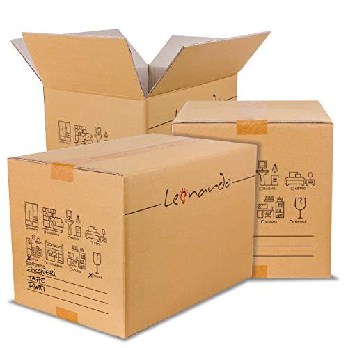 LEONARDO - Scatoloni 60x40x40 cm - 5 Pezzi - Scatola di Cartone Doppia Onda - Imballaggi per Spedizione e Trasloco
