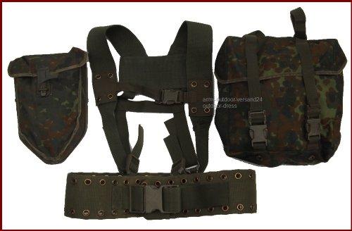 Bundeswehr Koppeltragesystem Flecktarn mit Spatentasche Mehrzwecktasche, gebraucht