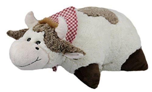 Inware 7198 - Schmusekissen Kuh, weiß/braun, 35 x 25 cm, Kuschelkissen mit Klettverschluss, Babykissen, Kinderkissen