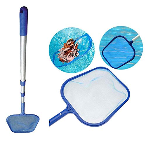 WGOO Swimming Pool Net Leaf Clean Device, Pool Skimmer Net Telescopic Aluminum Alloy Pole and Fine Mesh Net for Cleaning Swimming Pools, Spas (Pole+net)