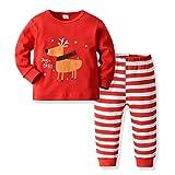 Fenverk Christmas Unisex Baby Strampler Lange Ärmel Pullover Babykleidung Neugeboren Säugling Junge Mädchen Lange Hülse Spielanzug Weihnachten Kappe Outfits Set(Tops +Hose) 1Y-5Y(A rot,100)