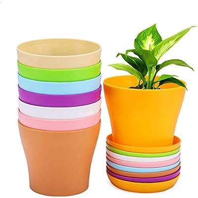 Amazon - 50% Off on 8 Pcs Plastic Planters, 6.5inch Indoor Flower Plant Pots
