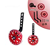HUWAY Training Wheels Flash Mute Wheel Bicycle stabiliser Mounted Kit Compatible for Bikes of 12 14 16 18 20 Inch, 1 Pair (red)