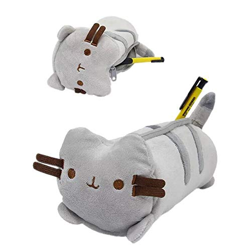 Yobeyi Cartoon Anime Fat Cat Cute Cat Zipper Stationery Storage Bag Stuffed Animal Pencil Bag Children's Toy Cat Plush Stuffed Animal Accessory Pencil Case 9.5in