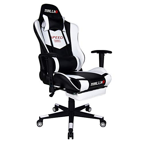 Polar Aurora Ergonomic Gaming Chair High Back Swivel Racing Office Chair PU Leather Sturdy Metal Frame with Adjustable Armrests and Footrest/White