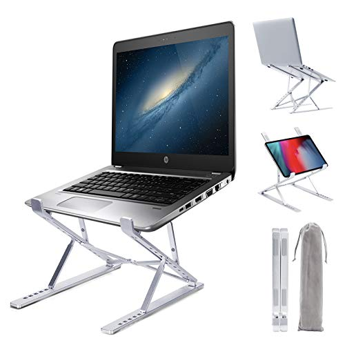 Portable Laptop Stand, Adjustable Laptop Holder, Ergonomic Laptops Elevator for Desk, Aluminum Computer Riser Compatible with Mac MacBook Pro Air, Lenovo, HP, Dell, More Laptops Under 17 inches