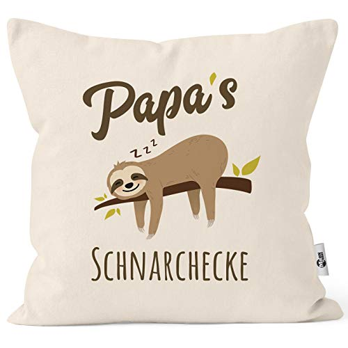 MoonWorks® Kissen-Bezug Spruch Opa's Oma's Mama's Papa's Schnarchecke Faultier Print Kissen-Hülle Deko-Kissen Baumwolle Papa Natur Unisize