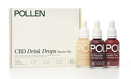 Pollen CBD Drink Drops Starter Kit. Dissolves in Liquid. 30ml Powerbank (150mg CBD), 30ml No Pressure (300mg CBD), and 30ml Soothe You (450mg CBD)