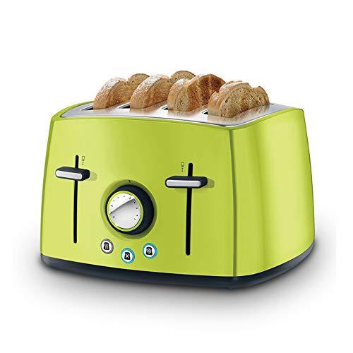 AMY Toaster 4 Slices Wide Slot, Retro Toaster Mit 6 Variablen Browning Control Brotbackautomat - Abnehmbares Krümelblech,Grün