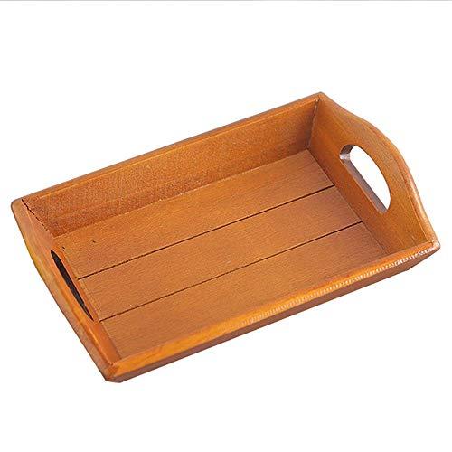 Bandeja decorativa de madera para servir platos de almacenamiento de alimentos con asas para bebidas de desayuno, bocadillos, diseño único (color: madera, tamaño: 21 x 14 x 2,6 cm) AA