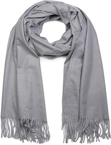 styleBREAKER Unisex weicher uni Schal mit Fransen, Winter, Stola, Tuch 01017104, Farbe:Hellgrau