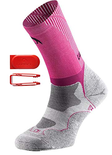 Lurbel Gravity Premium Trail Running Calcetines de compresión, Anti ampollas, para Mujer, S 3-4.5, Gris, Fucsia