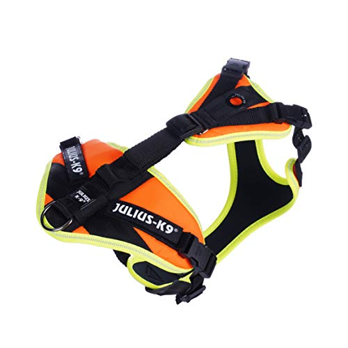 Julius-K9 19MTR-for-S-AMZ Mantrailing & Outdoor Hundegeschirr, Größe: S, UV orange mit neon Rand, UV orange mit neon Rand, 190 g