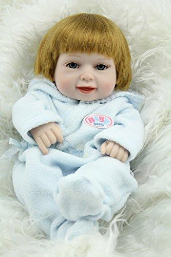 Nicery Reborn Baby Doll Réincarné bébé Poupée Doux Simulation Silicone Vinyle 11 Pouces 28cm Qui Semble Vivant Imperméable Jouet Vif réaliste Âge 3+ Cadeau Garçon Manteau Bleu