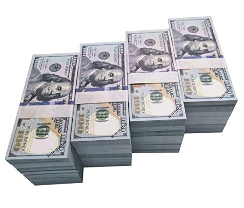 Movie Prop Money Full Print 2 Sided, Play Money 100 pcs 100 Dollar Bills for Movies,Kids and Party