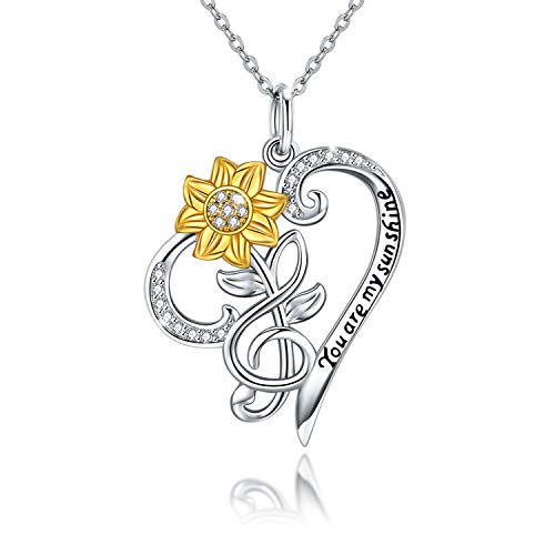 Sunflower Necklace 925 Sterling Silver Sunflower Music Note Pendant Heart Necklace Inspirational Jewelry Gift for Women Girl