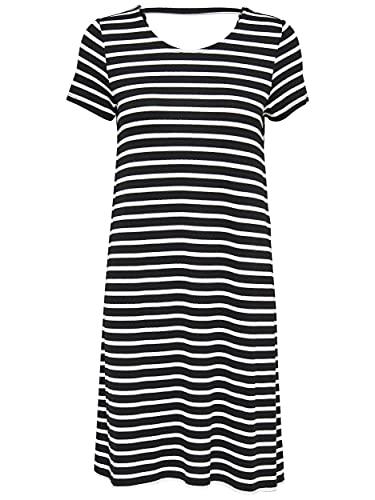 ONLY Damen onlBERA Back LACE UP S/S Dress JRS NOOS Kleid, Mehrfarbig (Black Stripes: Cloud Dancer), L