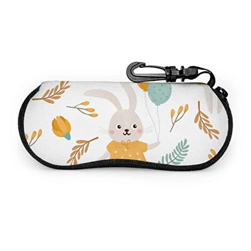 Estuche blando para gafas de sol, feliz Pascua Estuche de almacenamiento de gafas de neopreno infantil lindo con cremallera y clip para cinturón para gafas, marcos, estuche de bolsa de maquill