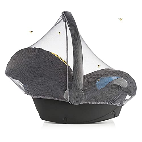 Zamboo Insektenschutz für Babyschale - Mückennetz für Baby Autositze (z.B. Maxi-Cosi, Cybex, Römer) - feinmaschiges Moskitonetz mit Gummizug und Trageöffnung - Grau