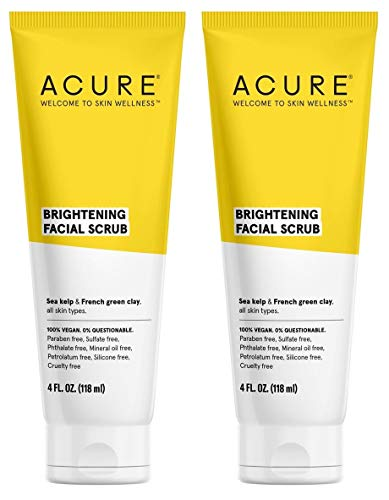 Acure Organics Brightening Facial Scrub, 4 fl. oz, Pack of 2
