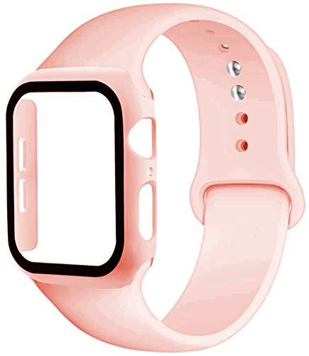 LLMXFC Caja de la Correa + Vidrio + for la Banda de Reloj de Apple iWatch Banda de 40 mm 44 mm 42 mm 38 mm de Silicona Tope + Pulsera de Reloj de la Manzana 5 4 3 2 1 38 42