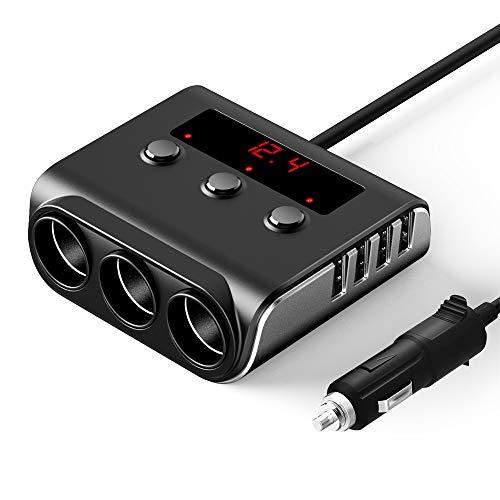 Kfz Verteiler für Zigarettenanzünder, SONRU 120W 12V / 24V Auto Ladegerät USB Adapter mit Getrennte Schalter LED Stromspannung Anzeige für iPhone Tablet GPS usw