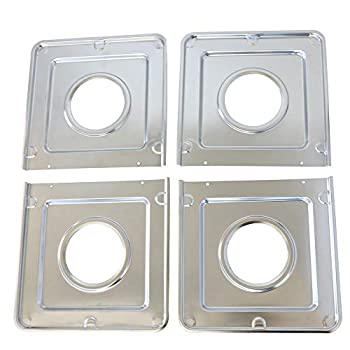 KITCHEN BASICS 101 WB32X90 Replacement Square Gas Drip Pans for GE Stoves AP2028207 PS244863 258331 AH244863 EA244863 PS244863 WB32X0090 WB32X5066 WB32X5082 4 Pack