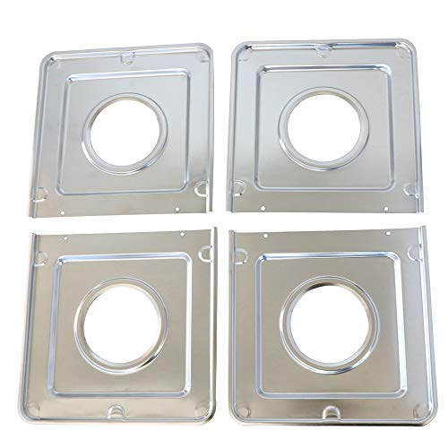 KITCHEN BASICS 101 WB32X90 Replacement Square Gas Drip Pans for GE Stoves AP2028207, PS244863, 258331, AH244863, EA244863, PS244863, WB32X0090, WB32X5066, WB32X5082, 4 Pack