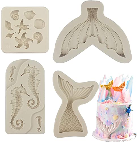 4 Pack Marine Theme Silicone Mold Fondant Molds Seahorse Seashell Starfish Mermaid Tail Silicone Mold Gum Paste Molds Candy Chocolate Molds for Cake Decoration Sugar Crafts