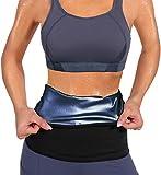 LODAY Waist Trimmer for Women Weight Loss,Tummy Trainer Sweat Workout Shaper,Neoprene-Free Slimming Sauna Wrap (Blue, L)
