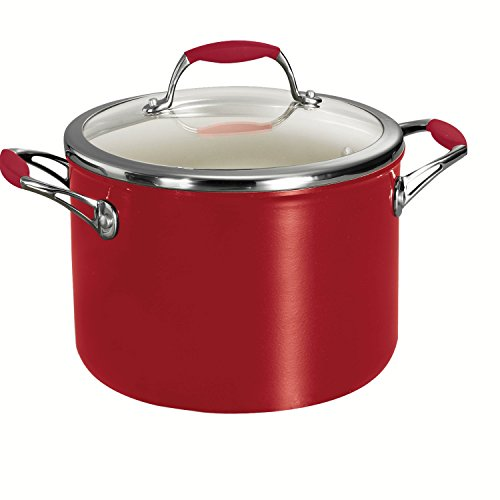 Tramontina Deluxe Covered Stock Pot, Ceramic 6-Quart, Metallic Red, 80110/065DS