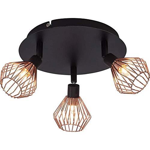 Plafondlamp 3 lampen Retro Industriële Plafond Lampen Met Verstelbare Lampenkap Plafond Lichten Kroonluchters voor Woonkamer Slaapkamer Gangen, Zwart