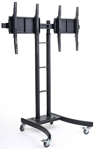 Floor Stand for TVs, Dual Monitor Mount with Side-by-Side Brackets, Fits Most 24' to 70' LCD Monitors, 50' to 90' Height-Adjustable TV Rack with Locking Casters - Black
