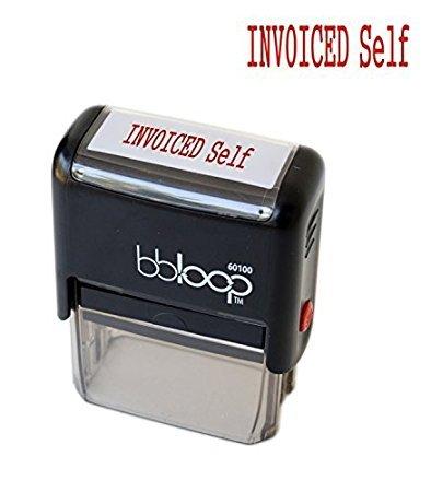 "BBloop Self-Inking Stamp""INVOICED Self"". Rectangular. Laser Engraved. RED"