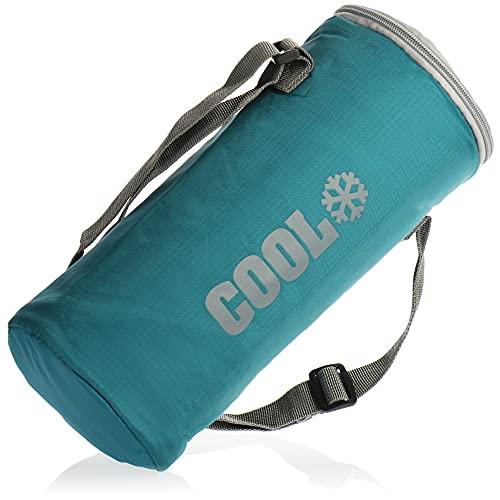 com-four Bolsa Nevera Redonda - Nevera térmica Plegable para una Botella - Pequeña Bolsa Aislante para Picnic, Camping, Exteriores, Deportes (01 Pieza - Azul - 2l)