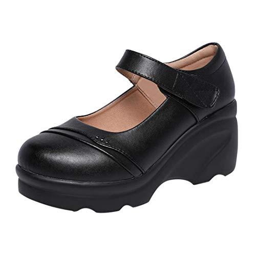 Damen Plateau Wedges Schuhe Dicke Sohle Weiche Mittelalterlich Lässig Mutter High Heels Knöchelriemen Klassiker Runde Zehen Pumps