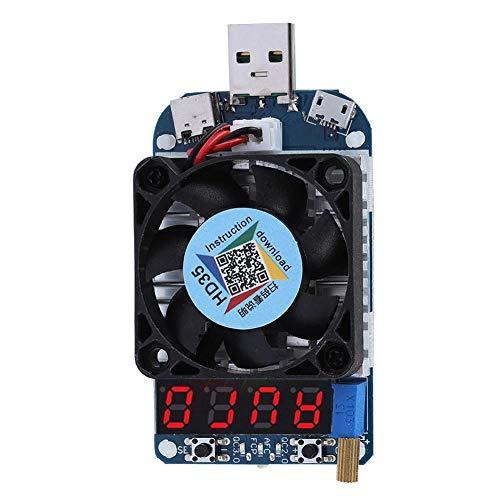 USB Electronic Load, DC Electronic Load Tester Widerstandsmodul mit Lüfter, 35 W Entladebatterietester mit 4-stelliger LED-Digitalröhrenanzeige, USB-Schnittstelle, Typ-C Schnittstelle